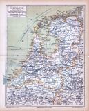 Farbig illustrierte Landkarte der Niederlande aus 1885 im Maßstab 1 : 1.300.000.