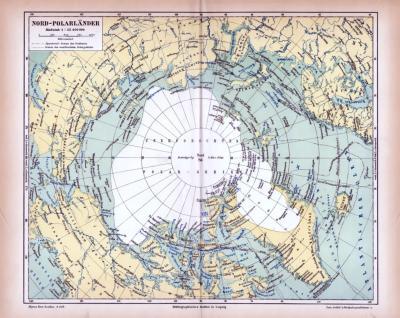 Farbig illustrierte Landkarte der Nord Polarländer aus 1885 im Maßstab 1 : 25.400.000.