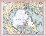 Farbig illustrierte Landkarte der Nord Polarländer aus...