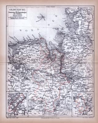 Farbig illustrierte Landkarte aus dem Jahr 1885 zeigt den Oldenburg und die Mündungsgebiete deutscher Flüße in die Nordsee.