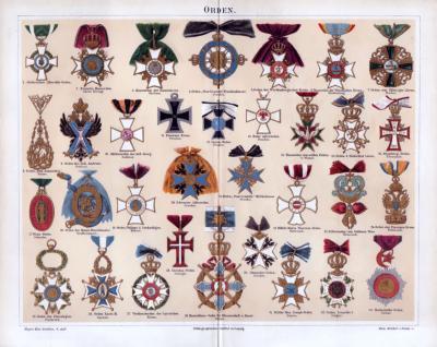 Chromolithographie aus 1885 zeigt 33 verschiedene Orden aus deutschen Staaten.