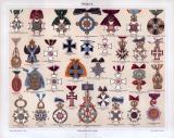 Chromolithographie aus 1885 zeigt 33 verschiedene Orden...