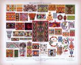 Chromolithographie aus 1885 zeigt verschiedene Ornamente aus dem Mittelalter.