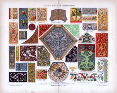 Chromolithographie aus 1885 zeigt verschiedene Ornamente aus der Renaissance.