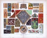Chromolithographie aus 1885 zeigt verschiedene Ornamente...
