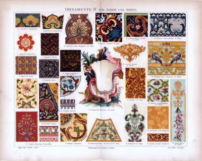 Chromolithographie aus 1885 zeigt verschiedene Ornamente aus Asien.