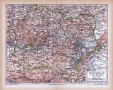Farbig illustrierte Landkarte von Österreich unterhalb der Enns aus 1885.