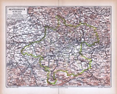 Farbig illustrierte Landkarte von Österreich oberhalb der Enns aus 1885.