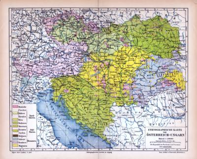 Farbig illustrierte ethnographische Landkarte aus dem Jahr 1885 zeigt die Verteilung der Volksgruppen in Österreich Ungarn.