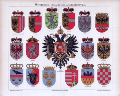 Chromolithographie aus 1885 zeigt verschiedene Länderwappen aus Österreich Ungarn.