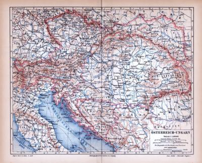 Farbig illustrierte Landkarte von Österreich Ungarn aus dem Jahr 1885.