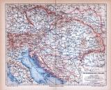 Farbig illustrierte Landkarte von Österreich Ungarn aus...