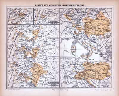 Farbig illustrierte Landkarten zur Geschichte von Österreich-Ungarn aus 1885.