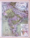 Farbig illustrierte Landkarte von Ost Indien aus 1885.