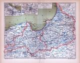 Farbig illustrierte Landkarte von Ost und Westpreussen aus 1885.