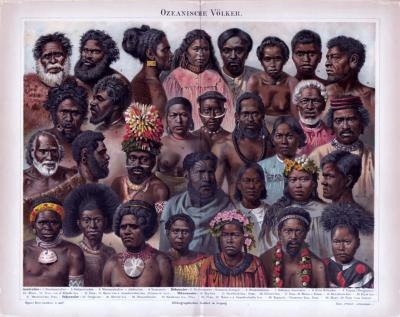 Chromolithographie aus 1885 zeigt Angehörige verschiedener Völker aus Ozeanien.