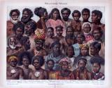 Chromolithographie aus 1885 zeigt Angehörige...