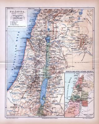 Farbig illustrierte Landkarte von Palästina aus 1885.