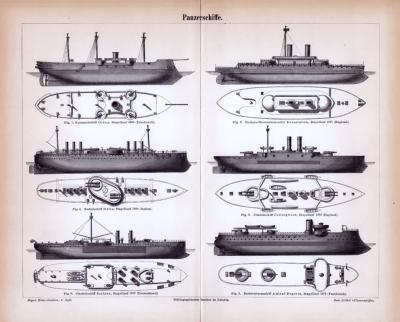 Stiche aus 1885 zeigen Panzerschiffe verschiedener Bauarten.
