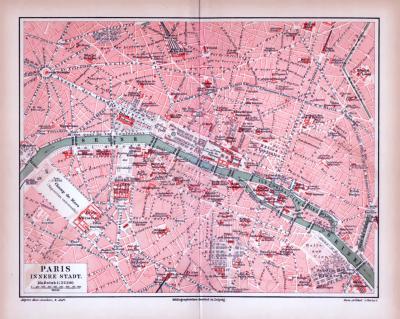 Farbig illustrierter Stadtplan der inneren Stadt von Paris aus 1885.