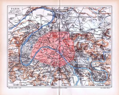 Farbig lithographierte Landkarten aus 1885 zeigen die Umgebung von Paris und Befestigungswerke.