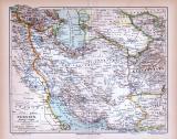 Farbig illustrierte Landkarte von Persien aus 1885.