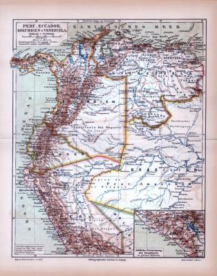 Farbig illustrierte Landkarte von Peru, Ecuador, Kolumbien und Venezuela aus 1885.