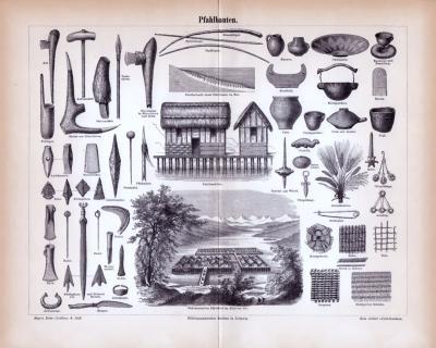 Stich aus 1885 zeigt verschiedene Gebäude und Gegenstände aus der Zeit der Pfahlbauten.