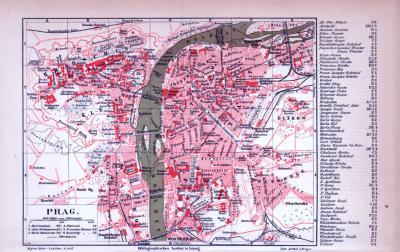 Farbig illustrierter Stadtplan von Prag aus dem Jahr 1885.