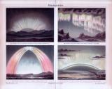 Chromolithographie aus 1885 zeigt 4 Darstellungen von Polarlichtern.