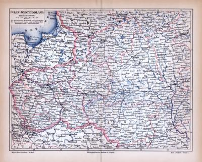 Farbig illustrierte Landkarten von Westrussland aus 1885, im Maßstab 1 zu 3.700.000.