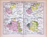 Farbig illustrierte Landkarten zur Geschichte Polens des Baltikums und Rußlands aus 1885.