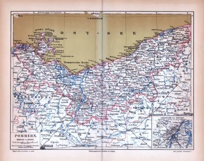 Farbig illustrierte Landkarte von Pommern aus dem Jahr 1885.