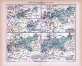 4 farbig illustrierte historische Landkarten aus 1885 zur Geschichte Preussens.