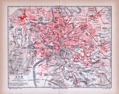 Farbige Lithographie eines Stadtplans von Rom aus 1885.