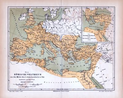 Farbig illustrierte Landkarte aus dem Jahr 1885. Zeigt das Römische Weltreiches um die Mitte des zweiten Jahrhunderts nach Chr..