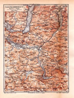 Farbige Lithographie einer Landkarte des Salzkammerguts aus 1885. Maßstab 1 zu 250.000.