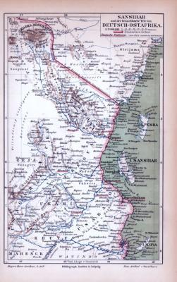 Farbig lithographierte Landkarte der Kolonie Deutsch Ostafrika aus 1885. Maßstab 1 zu 2.000.000