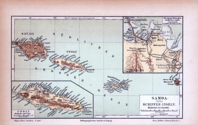 Farbige Lithographie einer Landkarte der Samoa Inseln aus 1885. Maßstab 1 zu 1.750.000.