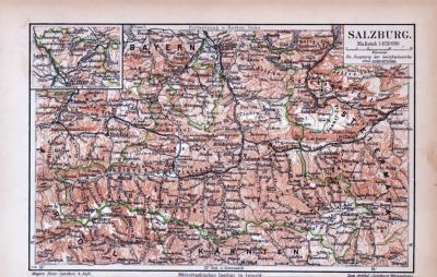 Farbige Lithographie einer Landkarte des Salzburger Landes aus 1885. Maßstab 1 zu 850.000.