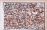 Farbige Lithographie einer Landkarte des Salzburger...