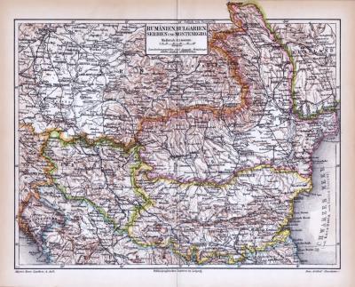 Farbig illustrierte Landkarte aus dem Jahr 1893 zeigt Rumänien, Bulgarien, Servien und Montenegro. Maßstab 1 zu 3.400.000