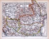 Farbig illustrierte Landkarte aus dem Jahr 1893 zeigt...