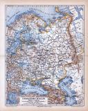 Farbig illustrierte Landkarte aus dem Jahr 1885 zeigt den europäischen Teil Russlands.