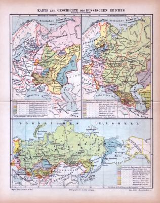 Farbig illustrierte historische Landkarten aus 1885 zeigen Epochen der Geschichte des Russischen Reichs.