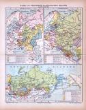 Farbig illustrierte historische Landkarten aus 1885...