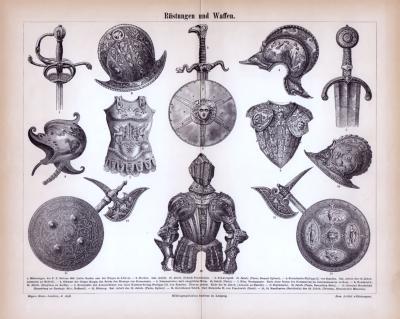Stich aus 1885 zeigt verschiedene Arten von Rüstungen und Waffen aus der Zeit des Mittelalters.