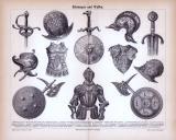 Stich aus 1885 zeigt verschiedene Arten von Rüstungen und...