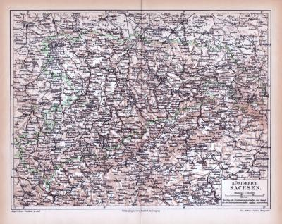 Farbige Lithographie einer Landkarte des Königreich Sachsen aus 1885. Maßstab 1 zu 850.000.