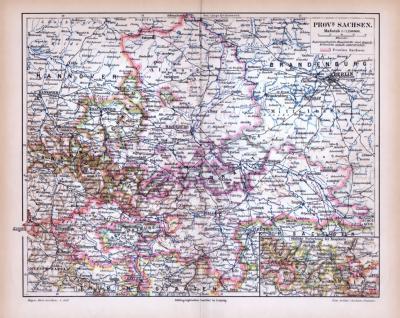 Farbige Lithographie einer Landkarte der Provinz Sachsen aus 1885. Maßstab 1 zu 1.150.000.